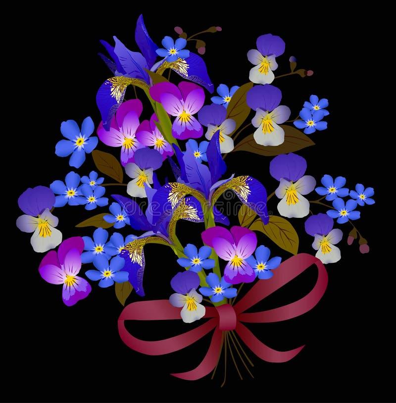 Blauw bloemboeket op zwarte achtergrond vector illustratie