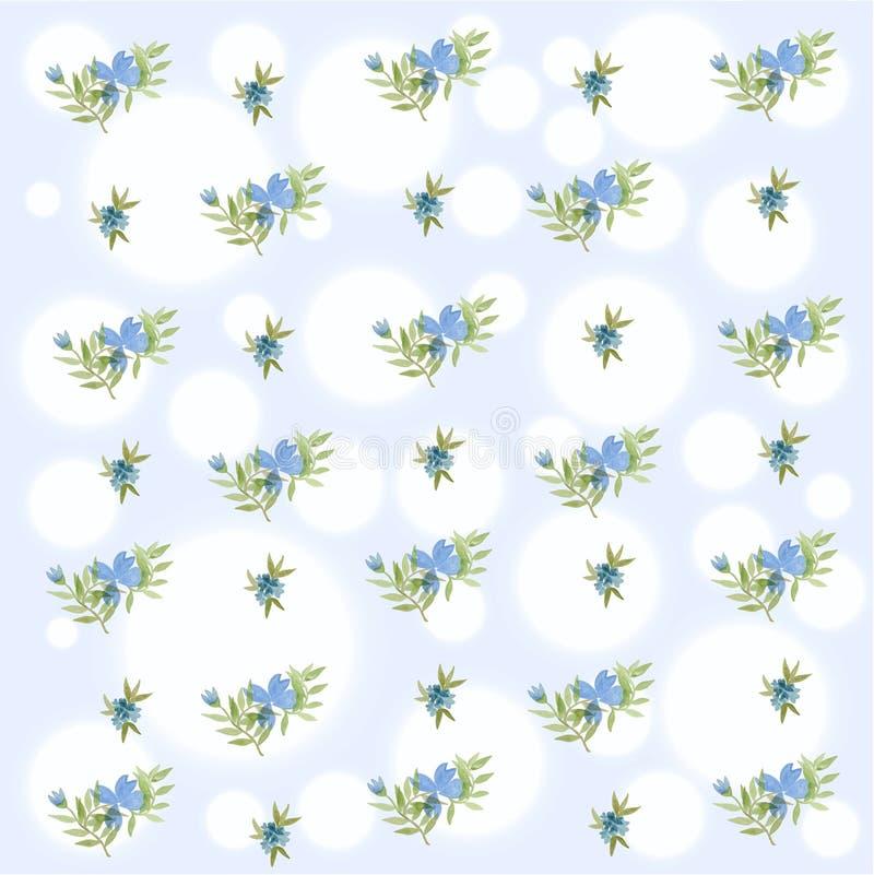 Blauw Bloemen de Lente Naadloos Patroon die waterverf gebruiken royalty-vrije stock fotografie