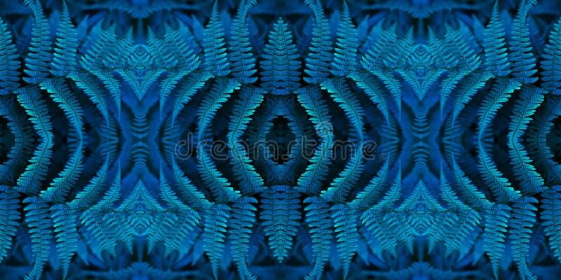 Blauw Bloemen Naadloos Patroon banner Mooie abstracte fractal achtergrond en textuur Het blauwe patroon van de neonvaren Creatief royalty-vrije stock foto's