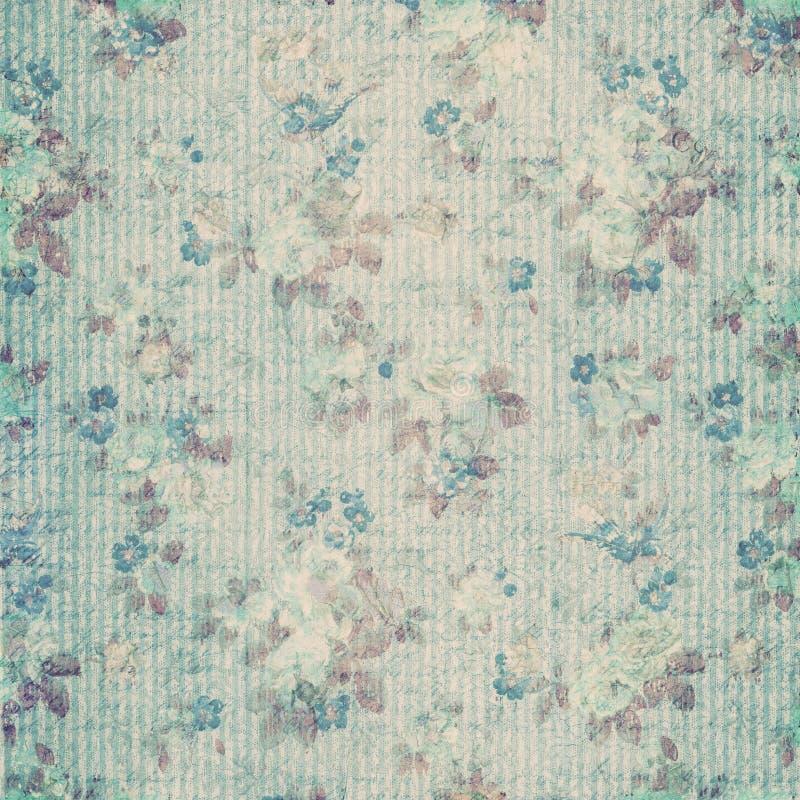 Blauw bloemen sjofel elegant uitstekend plakboekdocument royalty-vrije illustratie