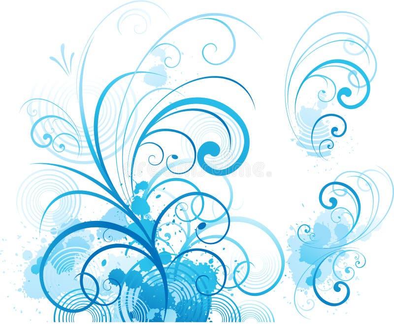 Blauw bloemenornament royalty-vrije illustratie