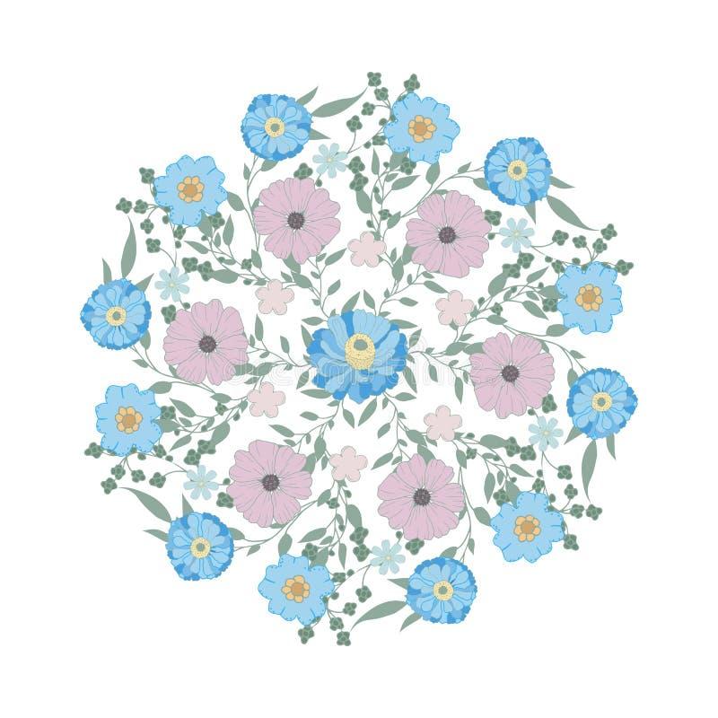Blauw bloemenornament Gevoelige bloem Geïsoleerde kroon royalty-vrije illustratie