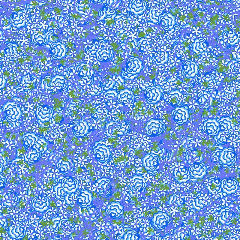 Blauw bloemenpatroon royalty-vrije illustratie