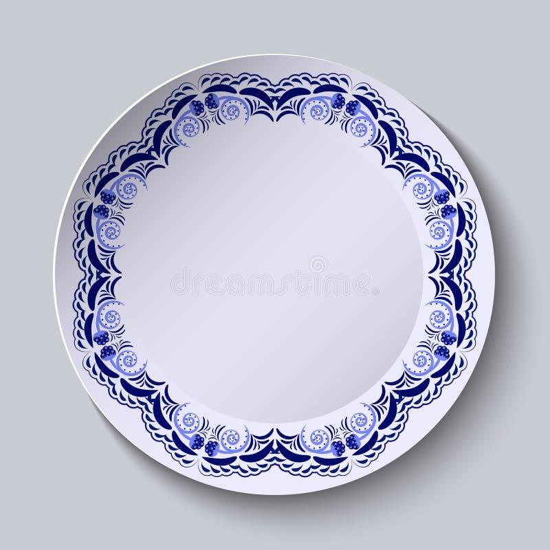 Download Blauw Bloemenpatroon Op De Rand Van De Plaat Imitatie Van Het Chinese Porselein Schilderen Vector Illustratie - Illustratie bestaande uit decoratief, ambacht: 54077527