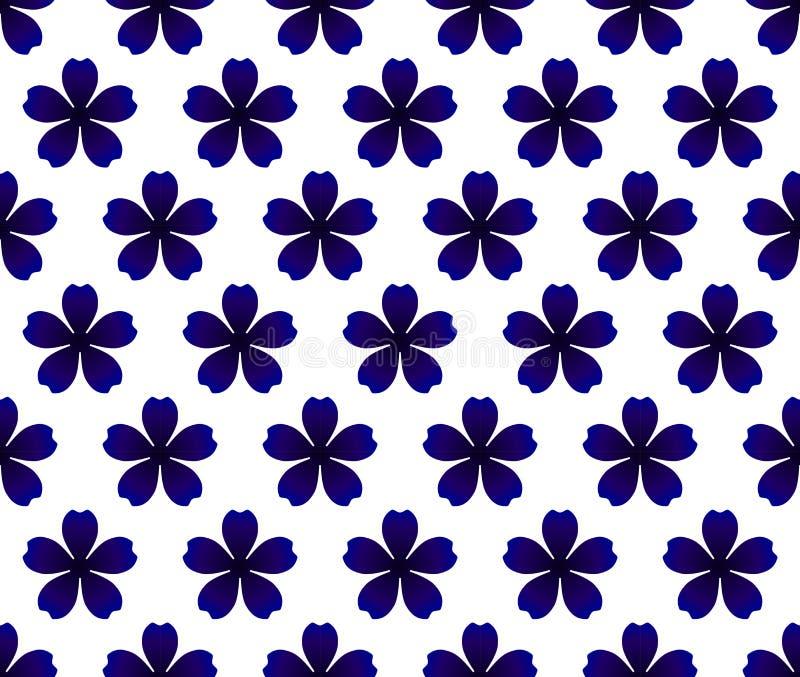 Blauw bloempatroon vector illustratie
