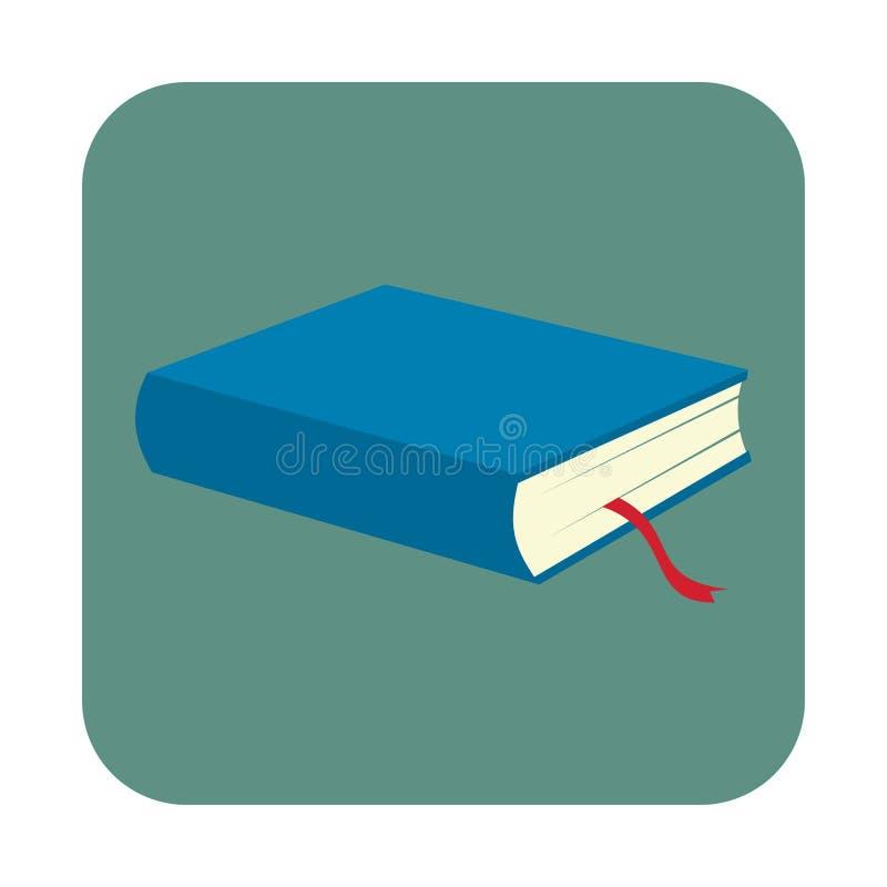 Blauw boek met referentie vlak pictogram stock illustratie