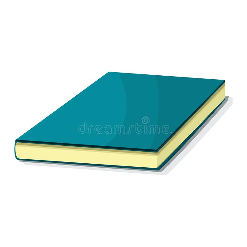 Blauw boekpictogram, beeldverhaalstijl vector illustratie