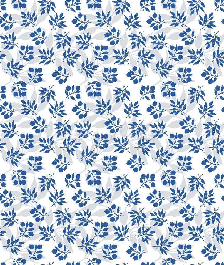 Blauw bosbessen naadloos vectorgeklets met witte en grijze achtergrond royalty-vrije illustratie