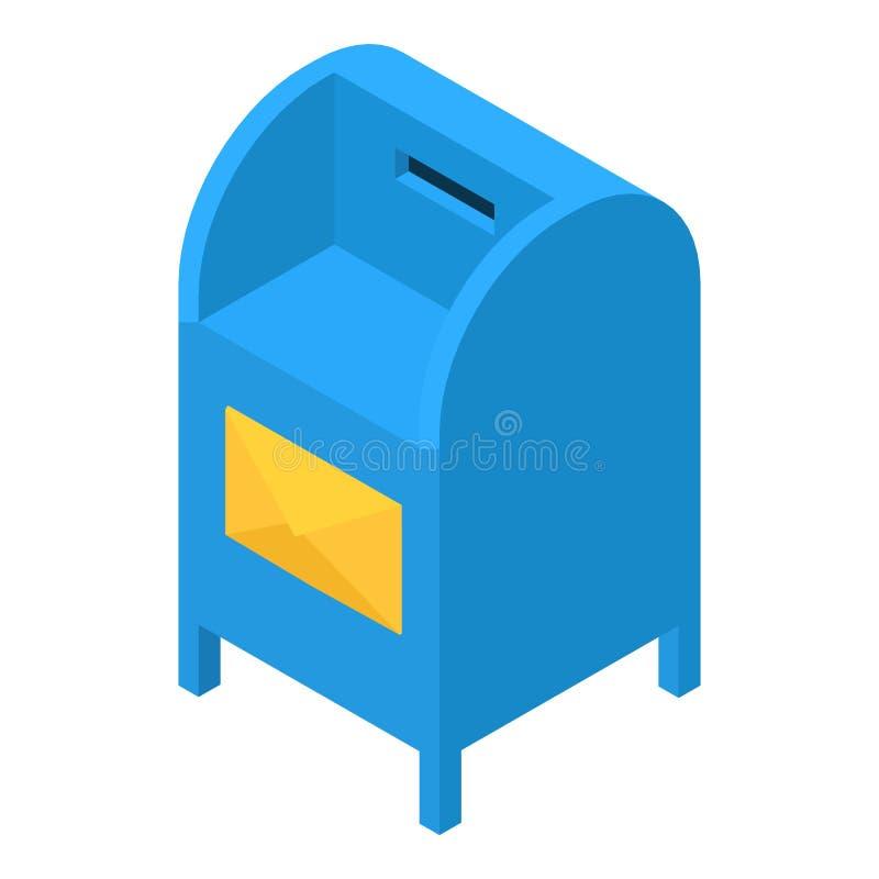 Blauw brievenbuspictogram, isometrische 3d stijl vector illustratie