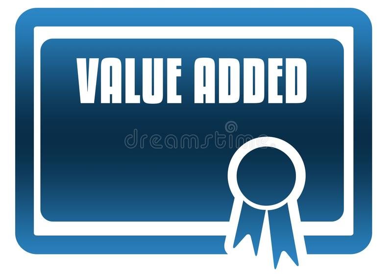 Blauw certificaat OP DE TOEGEVOEGDE WAARDE royalty-vrije illustratie