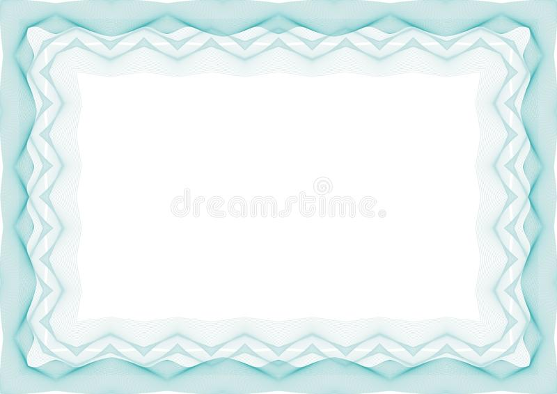 Blauw Certificaat of van het diplomamalplaatje kader - grens vector illustratie