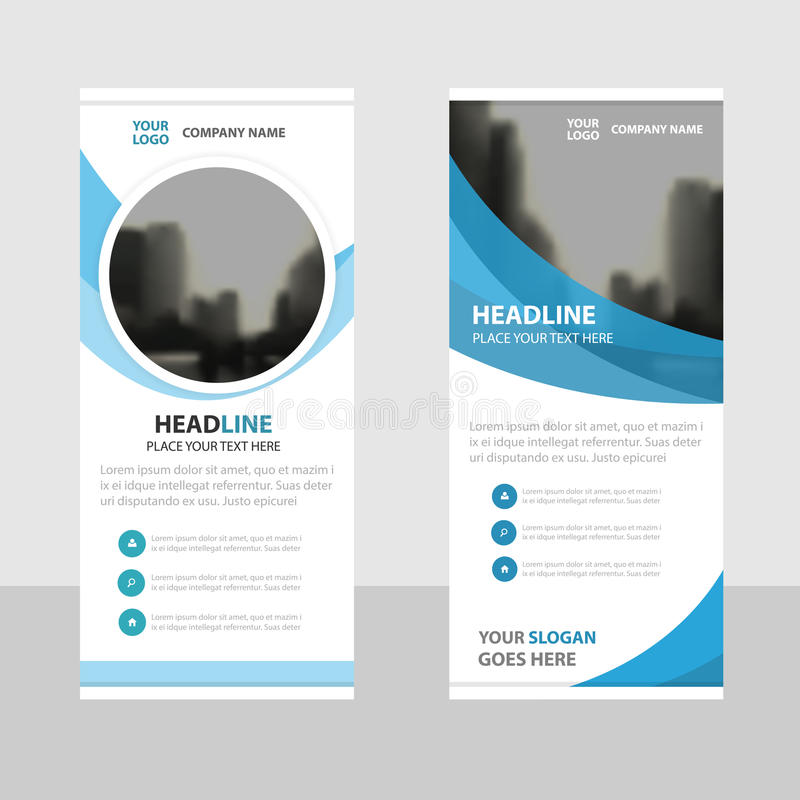 Blauw cirkel Bedrijfsbroodje op malplaatje van het Banner het vlakke ontwerp, Abstra stock illustratie