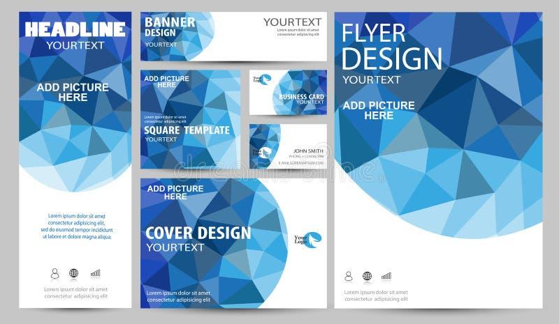 Blauw collectief de dekkings van de bedrijfs identiteits vastgesteld vlieger brochure vectorontwerp stock illustratie
