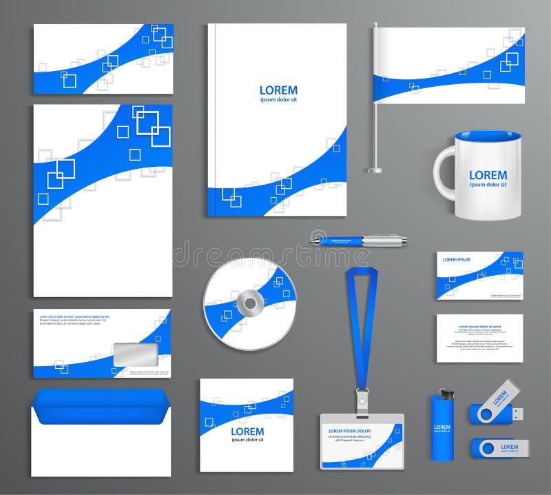 Blauw collectief identiteitskaart-malplaatje, bedrijfstijl vector illustratie