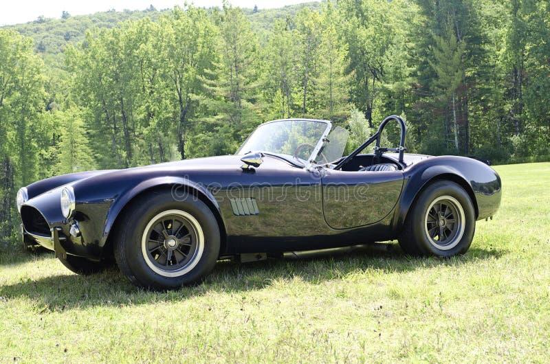 Blauw convertibel sportwagen zijaanzicht stock fotografie