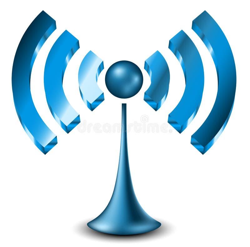 Blauw 3d WiFi-pictogram stock illustratie