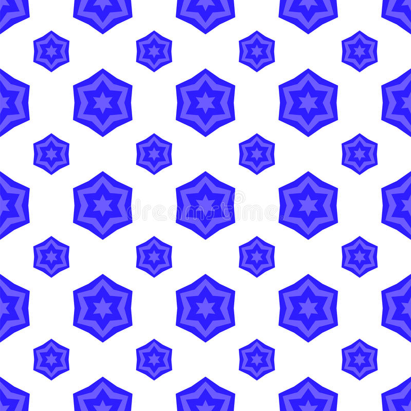 Blauw David Star Seamless Jewish Symbol van Godsdienst stock illustratie