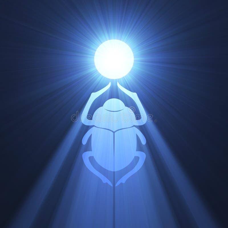 Blauw de gloedsymbool van de mestkever royalty-vrije illustratie