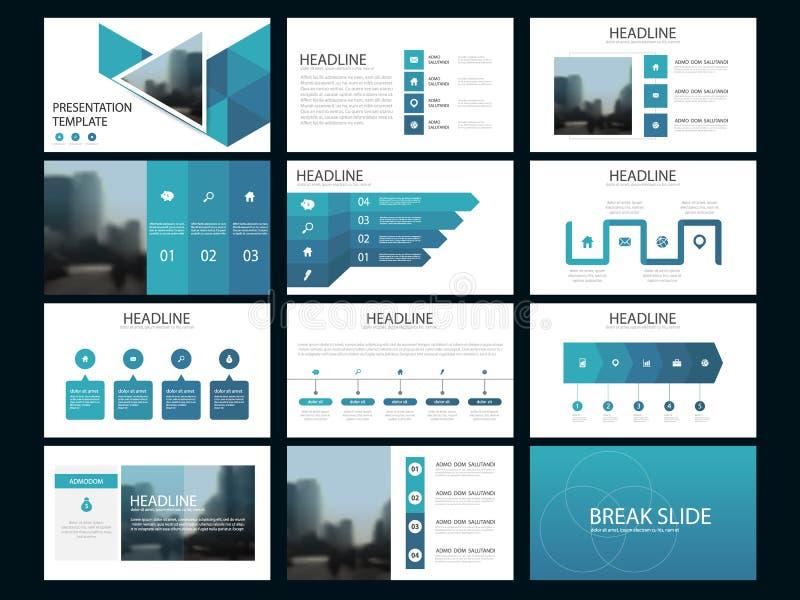 Blauw de presentatiemalplaatje van Bundel infographic elementen bedrijfs jaarverslag, brochure, pamflet, reclamevlieger, stock illustratie