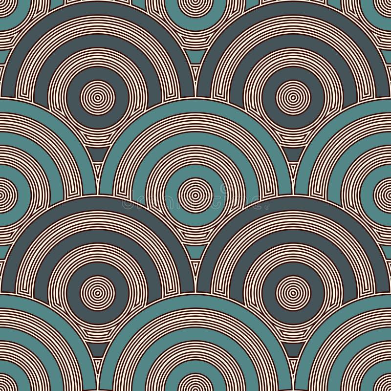 Blauw de schaalbehang van kleurenvissen Aziatisch traditioneel ornament met herhaalde kammosselen Naadloos patroon met halve cirk royalty-vrije illustratie