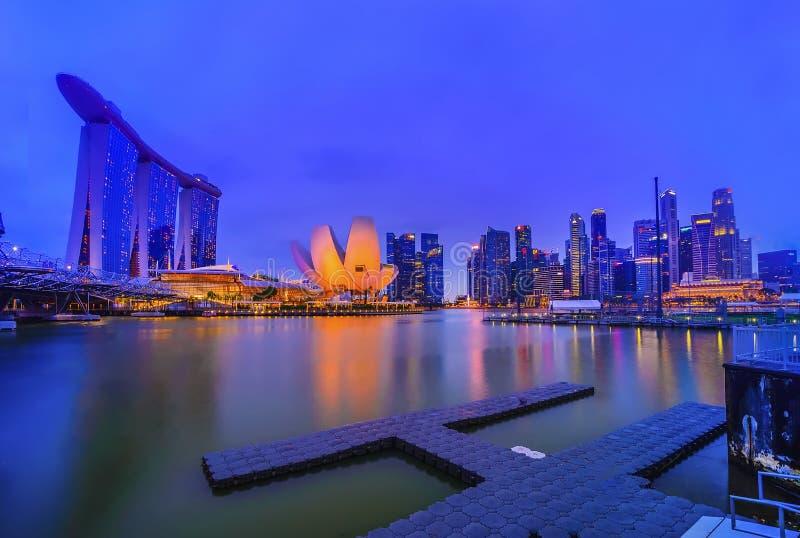 Blauw de stads wonderfull landschap Azië van Singapore van de Uurmening royalty-vrije stock foto