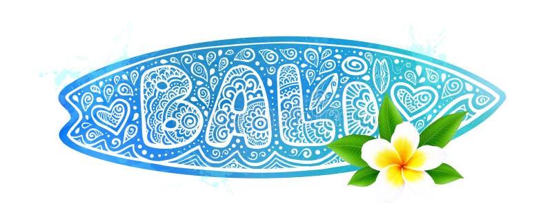 Blauw de surfplanksilhouet van de waterverfstijl met het vectorteken van krabbelbali met harten, kleine surfende raad, golven en stock illustratie