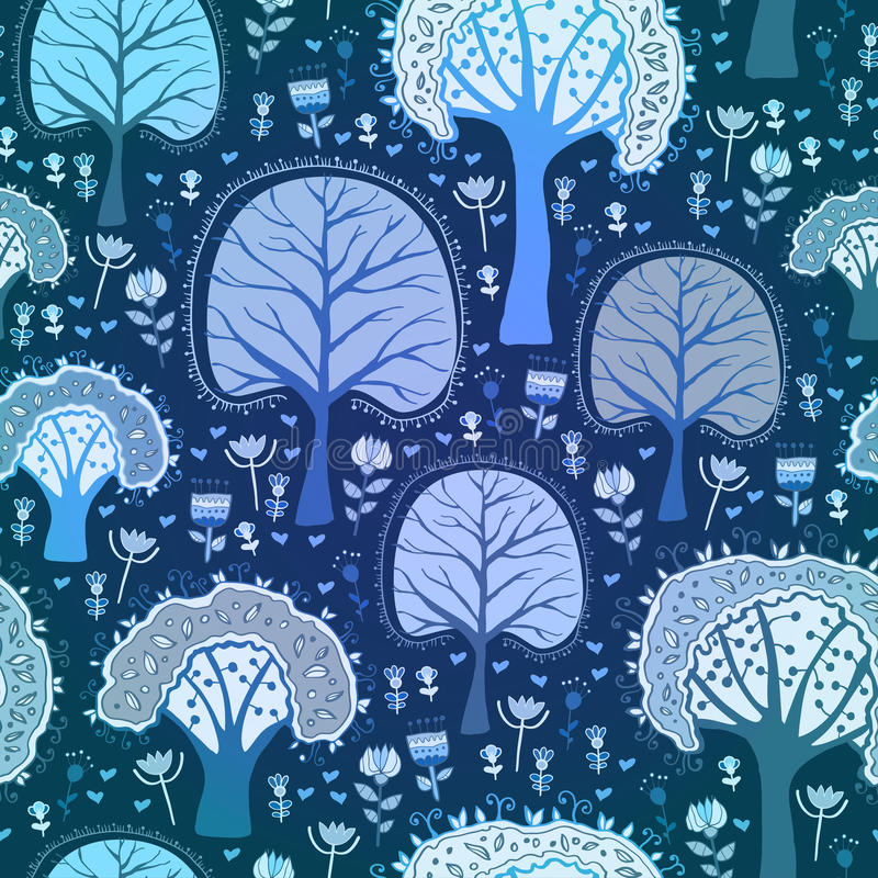 Blauw de winter bos naadloos patroon stock illustratie
