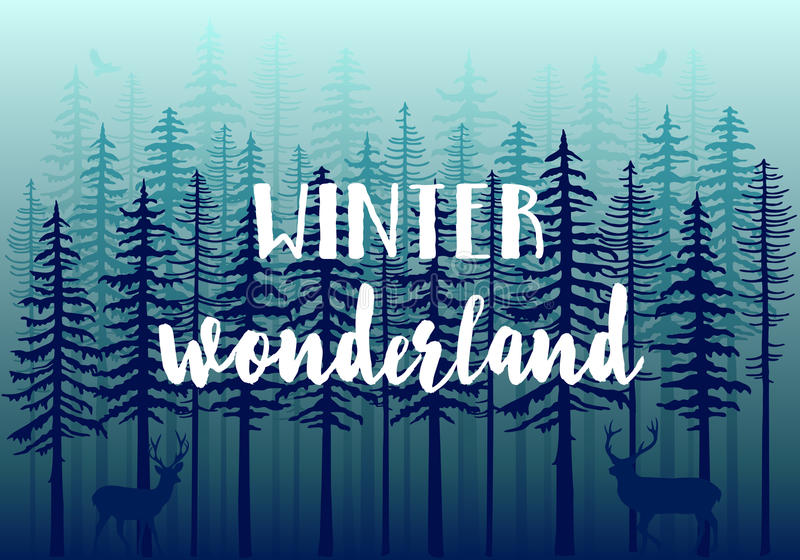 Blauw de winterbos, vector stock illustratie