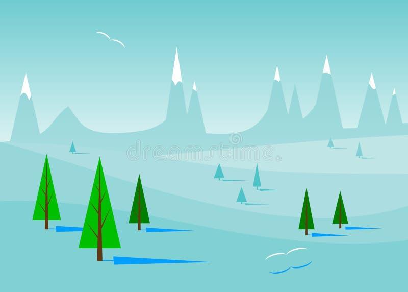 Blauw de winterlandschap royalty-vrije illustratie