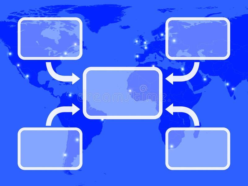 Blauw Diagram met Vier Pijlen royalty-vrije illustratie