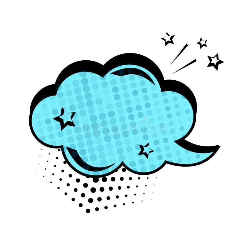 Blauw dialoogvenster, bannerreeks Gekleurde lege wolk met punten en sterren Grappige geluidseffecten in pop-artstijl Vector stock illustratie