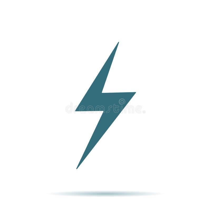 Blauw die Onweerspictogram op achtergrond wordt geïsoleerd Modern vlak pictogram, zaken, marketing, Internet-concept royalty-vrije illustratie