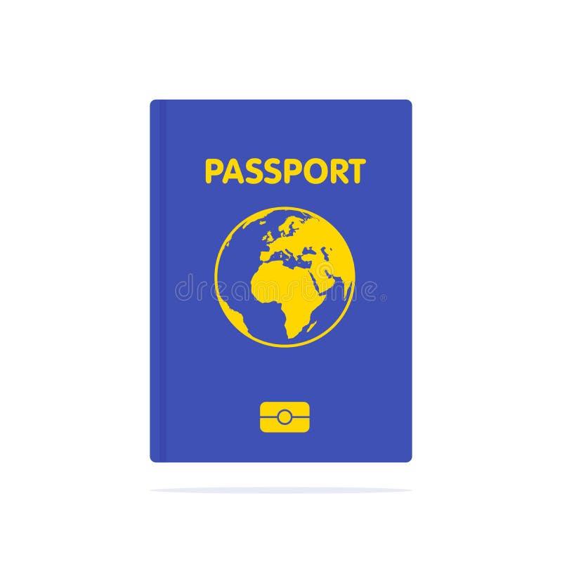Blauw die paspoort op wit wordt geïsoleerd Internationaal identificatiedocument voor reis Vectorbeeld over identificatie, reis stock illustratie