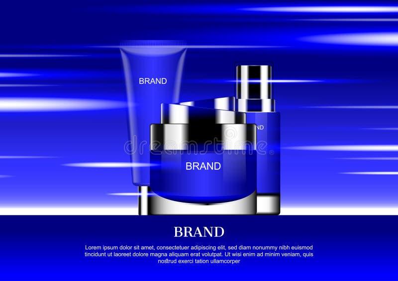 Blauw die schoonheidsmiddel met abstracte lichten op blauwe achtergrond wordt geplaatst royalty-vrije illustratie