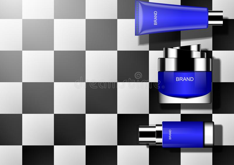 Blauw die schoonheidsmiddel op zwart-witte tegel wordt geplaatst stock illustratie