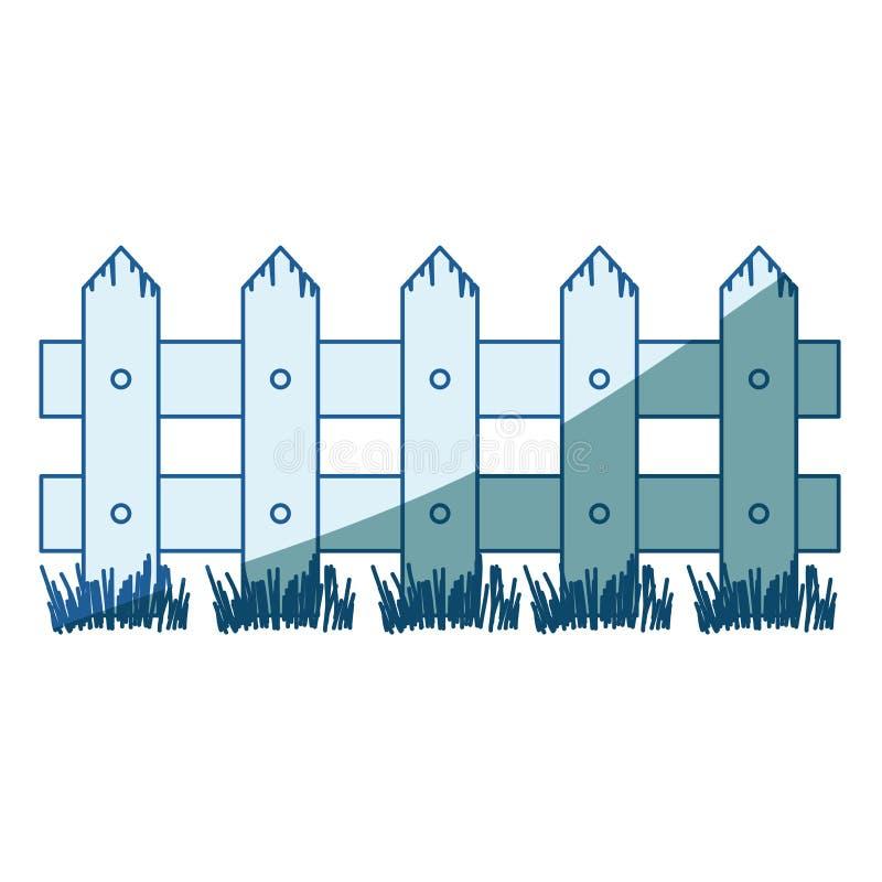 Blauw die silhouet van houten omheining met weide in de schaduw stellen vector illustratie