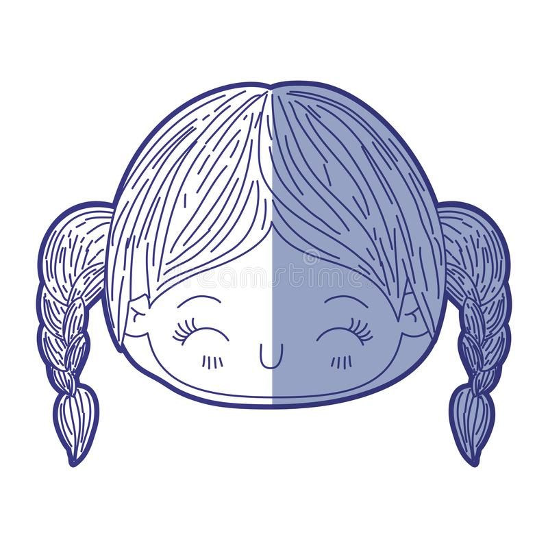 Blauw die silhouet van kawaii hoofdmeisje in de schaduw stellen met gevlecht haar en gelaatsuitdrukkinggeluk met gesloten ogen royalty-vrije illustratie