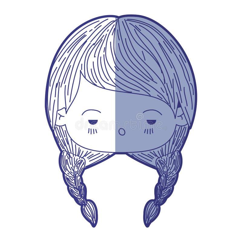 Blauw die silhouet van kawaii hoofdmeisje met gevlecht haar en gedeprimeerde gelaatsuitdrukking in de schaduw stellen vector illustratie