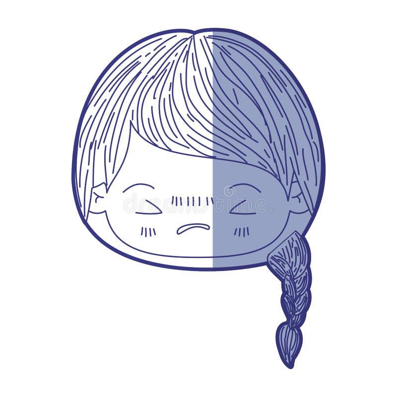 Blauw die silhouet van kawaii hoofdmeisje met gevlecht haar en gelaatsuitdrukking boos met gesloten ogen in de schaduw stellen royalty-vrije illustratie