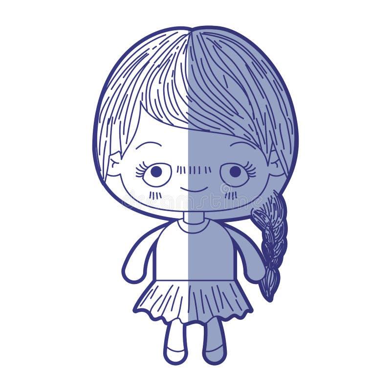 Blauw die silhouet van kawaii leuk meisje in de schaduw stellen met gevlecht haar en pijnlijke gelaatsuitdrukking royalty-vrije illustratie