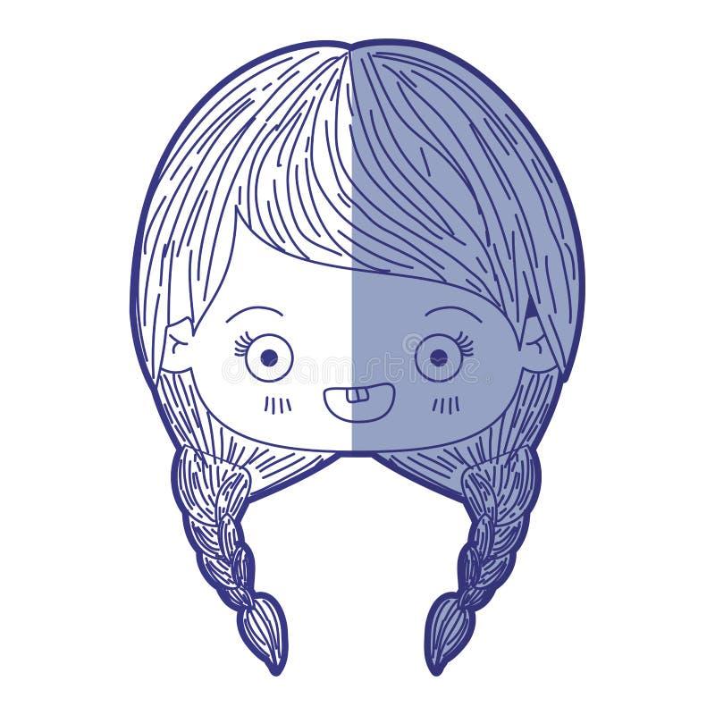 Blauw die silhouet van kawaiihoofd in de schaduw stellen van leuk meisje met gevlecht haar en het glimlachen royalty-vrije illustratie