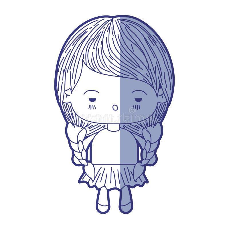 Blauw die silhouet van kawaiimeisje met gevlecht haar en gedeprimeerde gelaatsuitdrukking in de schaduw stellen vector illustratie