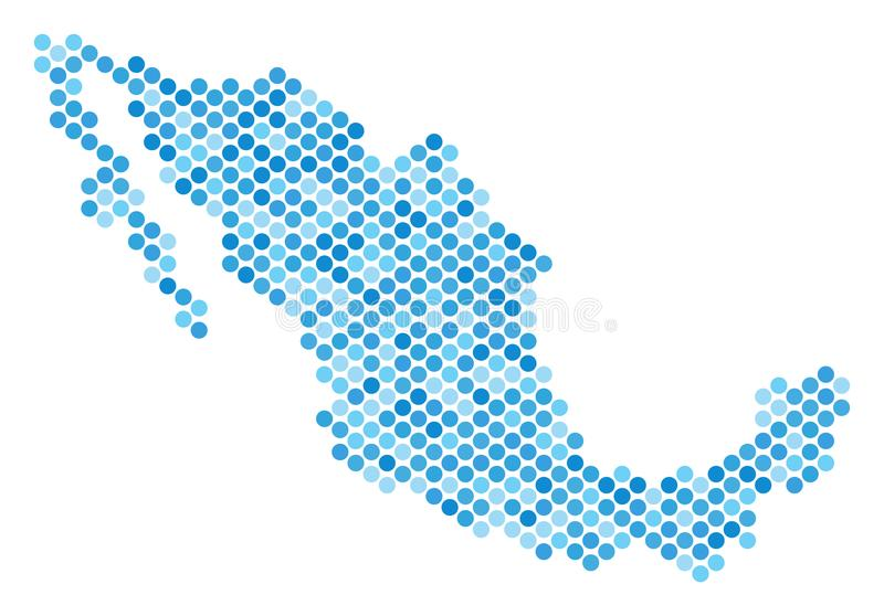 Blauw Dot Mexico Map vector illustratie