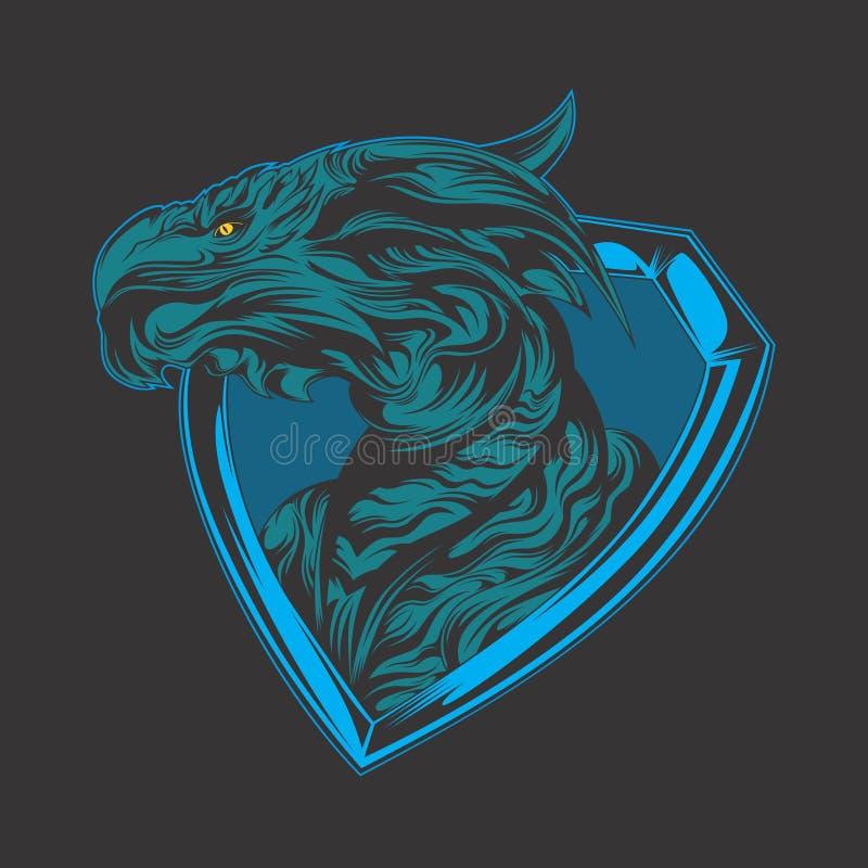 Blauw draakembleem vector illustratie