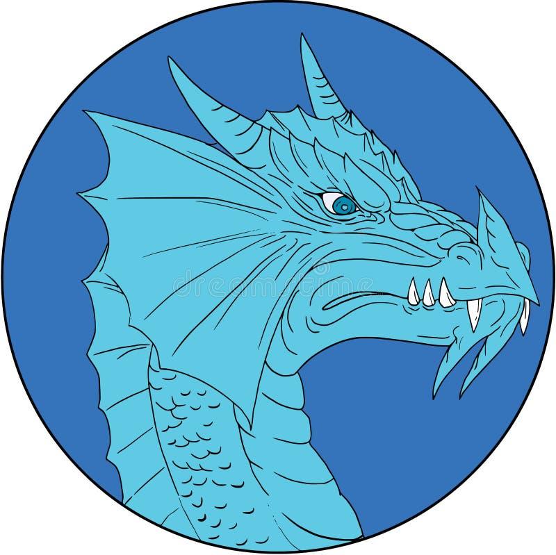 Blauw Dragon Head Angry Circle Drawing royalty-vrije illustratie