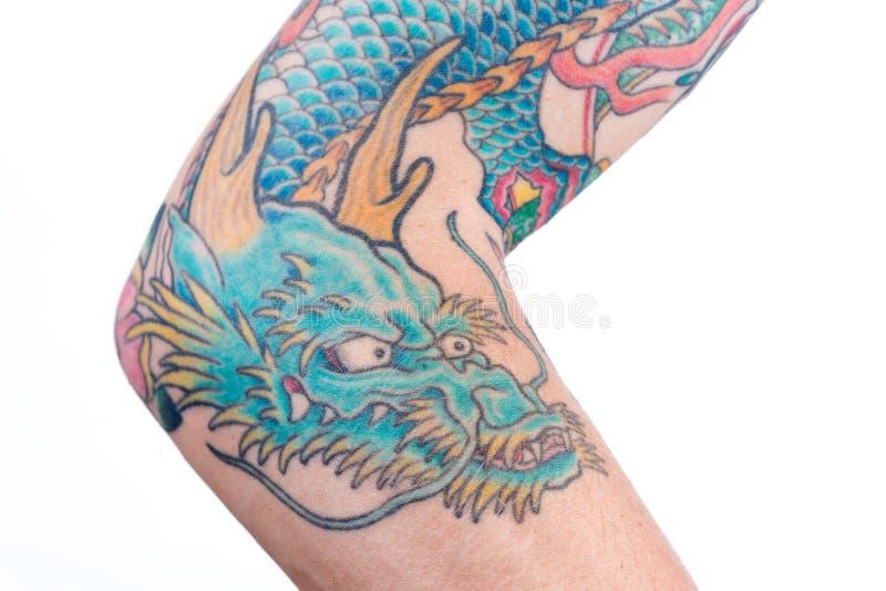 Blauw Dragon Tattoo op Wapen royalty-vrije stock foto