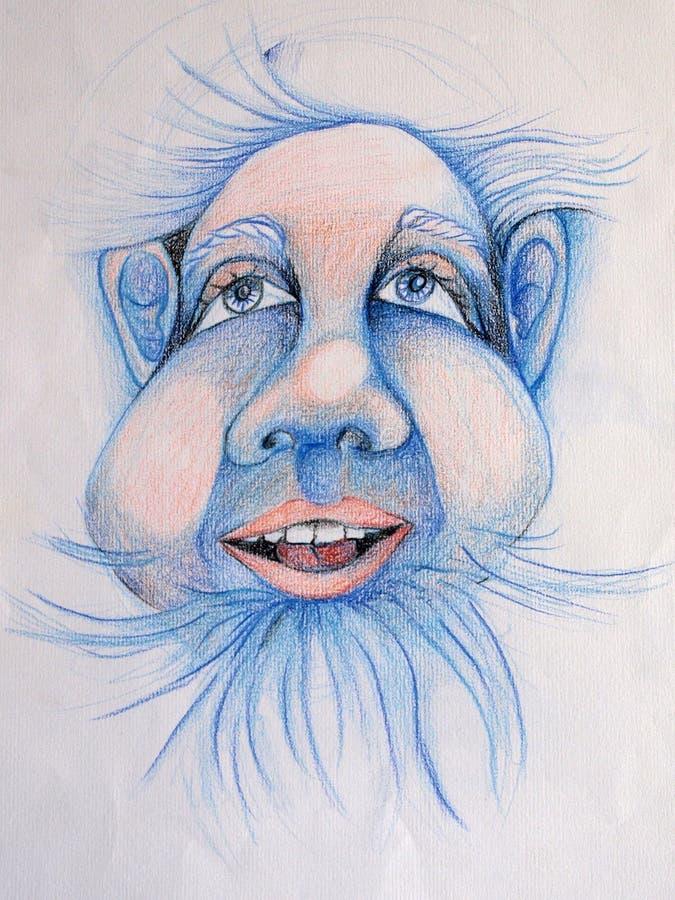 Blauw dwergportret vector illustratie