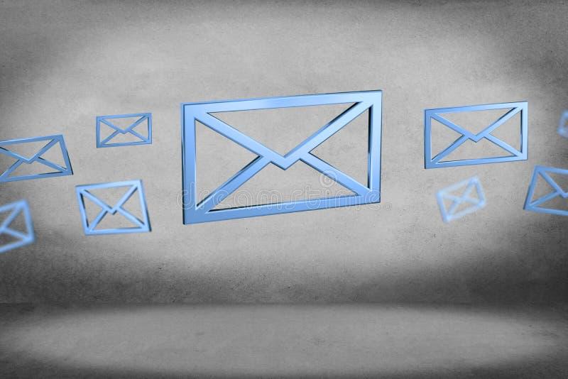Blauw E-maildiesymbool op een kleurenachtergrond wordt getoond - het 3D teruggeven stock illustratie
