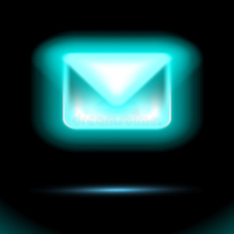 Blauw e-mailpictogram, gloeiende T.L.-buis, Nieuw binnenkomend bericht, sms De envelop isoleerde tekenontwerp op zwarte achtergro royalty-vrije illustratie