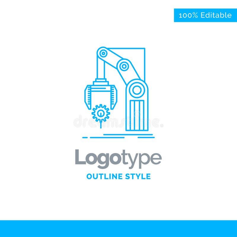 Blauw Embleemontwerp voor Automatisering, fabriek, hand, mechanisme, packa royalty-vrije illustratie